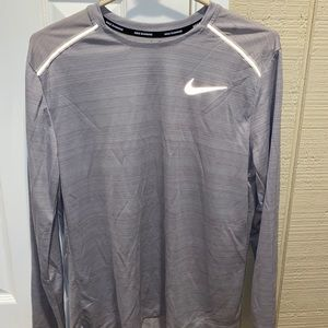 Nike long sleeve running grey dri fit shirt